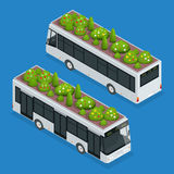 Green roofs on bus. Eco roof on bus. Flat 3d vector isometric illustration of eco roof. Royalty Free Stock Image