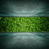 Green room. View of plants growing in a bridge style room with grungy concrete floor and ceiling. ecology concept image stock photography