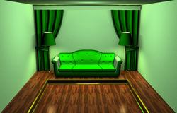 Green room. 3D model of an interior of a room. Shades of green colour and a parquet Vector Illustration
