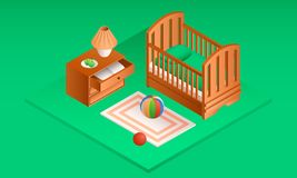 Green room baby crib banner, isometric style stock illustration