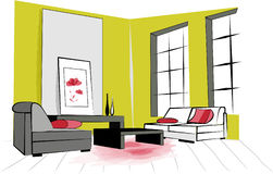 Green room. Big green living room  paint hand illustration Royalty Free Stock Photos