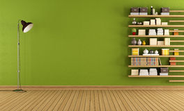 Green room with bookcase Royalty Free Stock Image