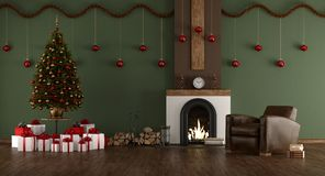 Green room with Christmas tree Stock Photos