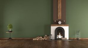 Green room with fireplace. Empty green room with fireplace and hardwood floor - 3d rendering Royalty Free Stock Photos