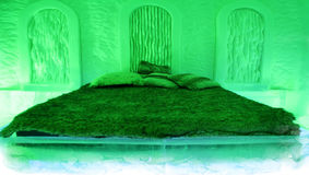 Green room Ice hotel. Royalty Free Stock Image
