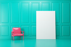 Green room, pink armchair, poster. Bright pink armchair is standing in an emerald room. A vertical blank poster on a wall. 3d rendering mock up Royalty Free Stock Photo