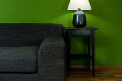 Green room with sofa. And lamp Royalty Free Stock Photography