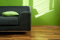 Green room with sofa. Green room with black modern sofa Royalty Free Stock Image