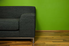 Green room with sofa. Green room with black sofa Stock Images