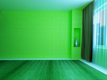 A green room with a window royalty free illustration
