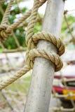 Green rope on iron pole Royalty Free Stock Photos