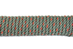 Green rope on white background. Green and red rope on the white background royalty free stock images