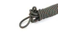 Green rope on white background. Green and red rope on the white background stock image