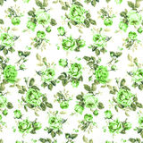Green Rose Fabric Background, Fragment of colorful retro tapestr Royalty Free Stock Photo