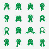 Green rosette icons. Symbols of quality, warranty, rewads Stock Image