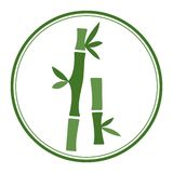 Green round bamboo icon. Vector royalty free illustration