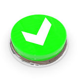 Green round button with white tick sign. Royalty Free Stock Images