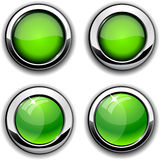 Green round buttons with chrome borders. Royalty Free Stock Images