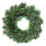 Green round Christmas wreath. Isolated on white background stock photo