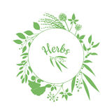 Green round frame with collection of plants. Silhouette of branches  on white background Stock Image