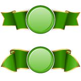 Green round frame with ribbon Royalty Free Stock Photos