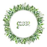 Green round frame with watercolor plants. Hand painted greenery collection vector illustration