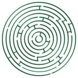 Green round maze against white stock image