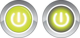 Green round power button and pushed button Stock Photos