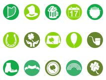 Green round st patrick`s day button icons set Royalty Free Stock Photography