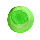 Green round watercolor brush stroke isolated on white. Watercolour stains texture. Hand drawn background. Rough Royalty Free Stock Photo