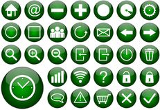 Green round web button set Royalty Free Stock Photography