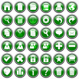 Green Round Web Buttons [1]. 36 website and application round buttons isolated on white background. Each button is 750x750 pixels. Green Round Web Buttons – Stock Images