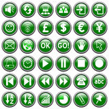 Green Round Web Buttons [3]. 36 website and application round buttons isolated on white background. Each button is 750x750 pixels. Green Round Web Buttons – Royalty Free Stock Image