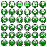 Green Round Web Buttons [4]. 36 website and application round buttons isolated on white background. Each button is 750x750 pixels. Green Round Web Buttons – royalty free illustration