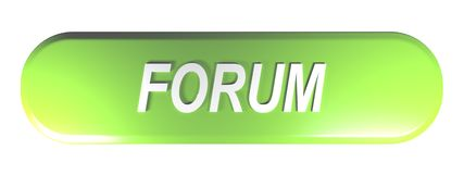 Green rounded rectangle push button FORUM - 3D rendering. A green rounded rectangle push button with the write FORUM - 3D rendering illustration Royalty Free Illustration