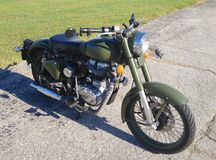 Royal Enfield Motorcycle. British Model Forest Green Royal Enfield Motorcycle Stock Photo