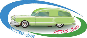 Green Rretro-car 1953. Vector image auto. Royalty Free Stock Photography