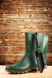Green rubber boots for garden work. Green rubber boots. Agricultural working boots for all sorts of garden work royalty free stock image