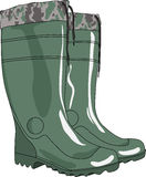 Green rubber boots vector Royalty Free Stock Photos