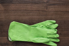 Green rubber cleaning gloves Stock Image