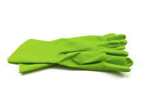 Green rubber gloves Stock Image
