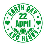 Green rubber stamp for Earth Day. April 22 Stock Photography