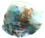 Green rubbish bag with garbage Stock Photography