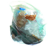 Green rubbish bag with garbage Royalty Free Stock Photography