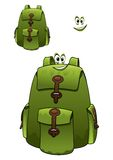 Green rucksack with a cute grin Royalty Free Stock Photo