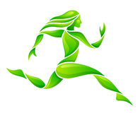 Green runner. On a white background stock illustration