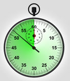 Green running stopwatch with time reserve Stock Photos
