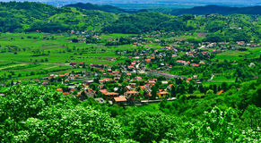 Green rural scene panoramic view. With village houses. Samobor town suburb, Croatia Stock Photo