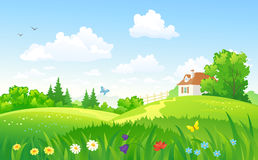Green rural scenery. Illustration of a beautiful summer landscape with a home Stock Image