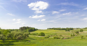 Green rural summer panoramic landscape Royalty Free Stock Photography